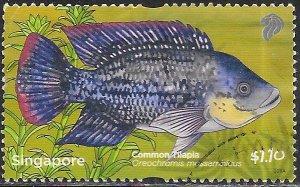 Singapore 1484 Used - Pond Life - Mozambique Tilapia (Oreochromis mossambicus)