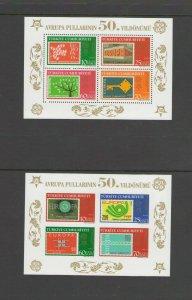 TURKEY : Sc. 2985-86 /**EUROPA-50th ANNIV **/ PERF & IMPERF SHEET-CV:$25+ / MNH