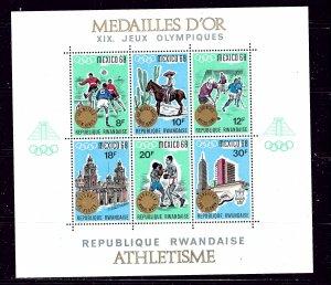 Rwanda 254a MNH 1968 Olympics sheet with overprint (USA Shipment only)