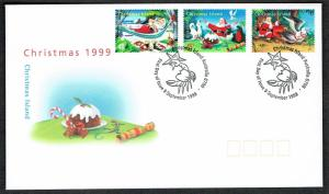 Christmas Is. Booby Birds Christmas 3v issue 1999 FDC SG#473-475