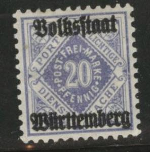 Germany State Wurttemberg Scott o49 MH* 1919 official