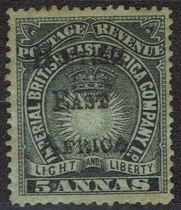 BRITISH EAST AFRICA 1895 LIGHT AND LIBERTY OVERPRINTED 5A