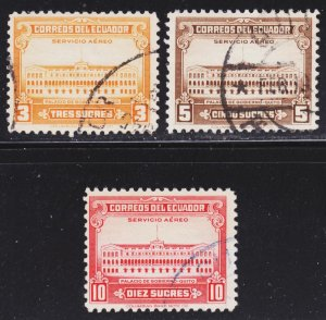 Ecuador Scott C128-30 complete set F to VF used.