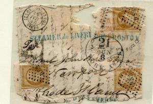 FRANCE 10 USED 3 STAMPS ON UNUSUAL PIECE