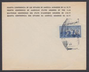 Uruguay Sc 580 on 1949 ILO cover with 4th Conference of American States Cancel