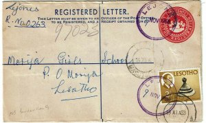 Lesotho (Basutoland) 1968 Lejone cancel on registry envelope to Morija