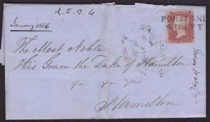 GB SCOTLAND 1856 cover 1d red PORTLAND STREET Scots local cancel............6458