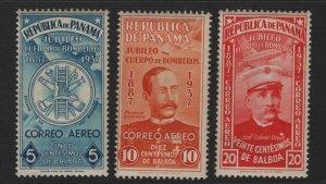 PANAMA  C40-C42 MINT HINGED, FIRE DEPARTMENT SET 1937