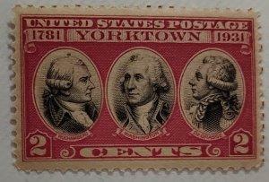 # 703b 2c Dark Lake & Black 1931 Yorktown Stamp, Mint NH Gem OG. SCV $750