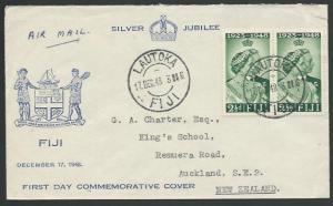 FIJI 1948 Silver Wedding 2½d pair on commem FDC - Lautoka cds..............10234