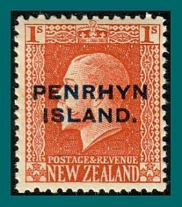 Penrhyn Island 1917 King George V Overprint, p 14.5, 1s MNH #24,SG27a