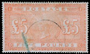 SG137, SCARCE £5 orange, USED. Cat £4750. DC