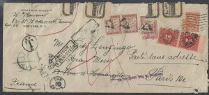US ca 1930s New York to France, returned, w/ Postage Dues and Official Seals