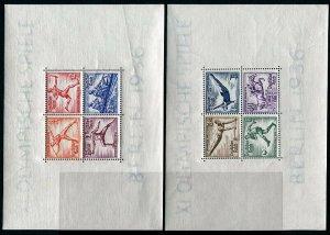 HERRICKSTAMP GERMANY Sc.# B91-92 1936 Olympics S/S Scarce