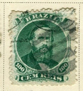 BRAZIL; 1866 early classic Pedro issue fine used 100r. value