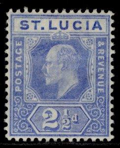 ST. LUCIA EDVII SG69, 2½d blue, M MINT.