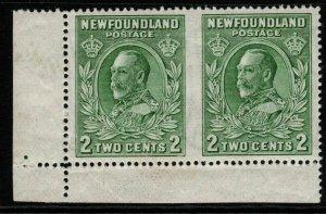 NEWFOUNDLAND SG223ca 1932 2c GREEN IMPERF BETWEEN HORIZONTAL PAIR MNH