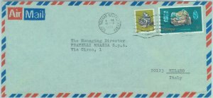 84383 - KENYA -  AIRMAIL Cover to ITALY 1982 - MINERALS: Galena Aquamarine