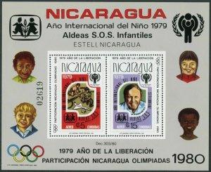 Nicaragua C970,MNH.Mi Bl.110A. IYC-1979,Olympics-Lake Placid-1980,Moscow-1980.