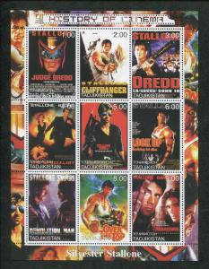 Tajikistan Commemorative Stamp Sheet - History of Cinema - Sylvester Stallone