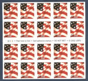 3635 (CF1) Flag Booklet Pane Of 20 Counterfeit Stamps Scarce Scott Value $350.00