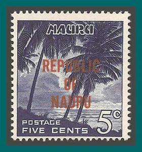 Nauru 1968 Independence, Palm Trees, 5c MNH 76,SG84