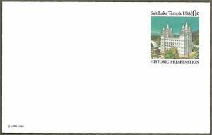 United States #UX83 10c Salt Lake Temple, Historic Preservation Unused (1980)