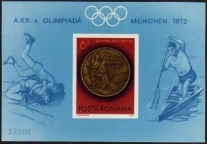 Romania C191a imperf sheet,MNH.Michel 3067 Bl.101. Romanian medalists.Gold medal