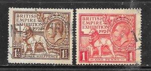 1924GB #185 -186  British Empire Exhibition  1924 (U) CV $13.50