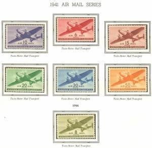 #C 25-C 31 US AIRMAIL TRANSPORTS-MINT-FINE-VF