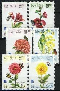 Laos 1988, Flowers and butterflies set, Sc 870-875 MNH