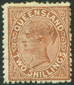 QUEENSLAND-1889 2/- Deep Brown.  A mounted mint example Sg 181