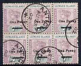 Leeward Islands 1902 QV 1d on 7d block of 6 fine used wit...
