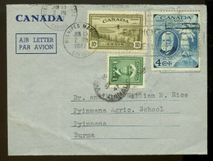 15 cent AIR LETTER to BURMA Asia Rec'r 1947 airmail PEACE issue Canada