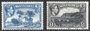 Montserrat 1948 10s-£1 GVI Pictorial HV SG 111-112 Sc 102-103 VFU Cat £62($78)