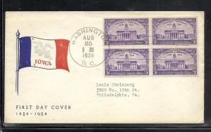 US #838-12 Iowa Fidelity cachet addressed DC