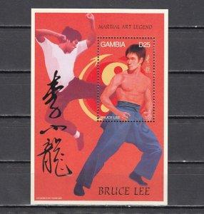 Gambia, New item. Bruce Lee, Martial Arts, Cinema s/sheet. ^
