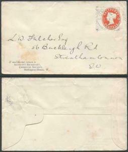 EP36 QV 1/2d Vermillion Envelope Size E Used London Squared Circle Cancel