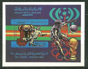 Libya MNH S/S 847 Pre-Olympics Moscow Soccer 1980