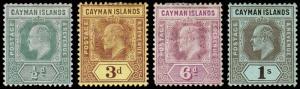 Cayman Islands Scott 21, 24, 26, 27 (1907) Mint H F-VF, CV $48.25 M