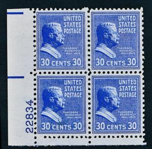 UNITED STATES 830 MNH VF, PLATE BLOCK OF 4