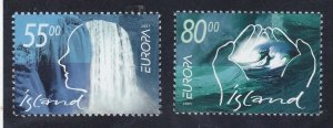 Iceland 937-38 MNH 2001 Woman's Head in Water Hands in Water Europa Set VF