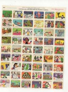 Cinderella TB Christmas Stamps 1978 USA Sheet of 54 Seals MNH