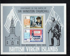 VIRGIN ISLANDS #279a  1974 SIR WINSTON CHURCHILL        MINT VF NH O.G  S/S