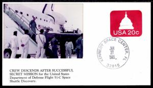 US Space Shuttle Discovery Crew Decends  51C Space 1985 Cover