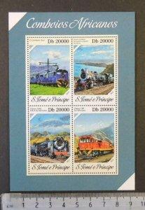 St Thomas 2013 african trains railways transport m/sheet mnh