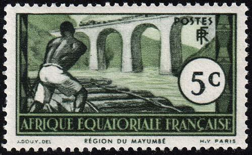 French Equatorial Africa - Scott 37 - Mint-Hinged - Paper Adhesion on Back