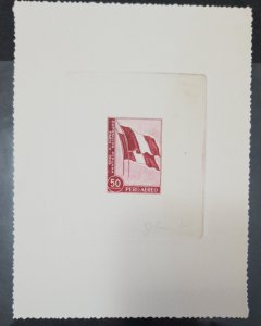 O) 1958 PERU, ATELIER DIE PROOF, PRERUVIAN EXHIBITION IN PARIS, FLAG, SCT C144 5