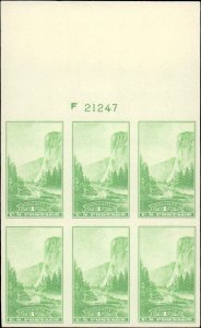United States #756, Complete Set, Plate Block of 6, 1935, Mint No Gum As Issued