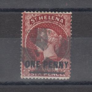St Helena QV 1864 1d On 6d SG27 VFU J5844